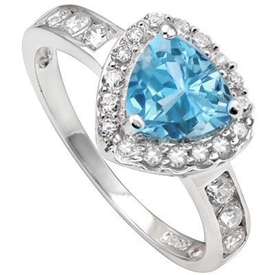 1.46 CT BLUE TOPAZ & CREATED WHITE SAPPHIRE PLATINUM OVER 0.925 STERLING SILVER RING