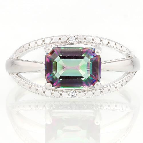 WHOPPING 1 1/3 CARAT MYSTIC GEMSTONE & GENUINE DIAMONDS 925 STERLING SILVER RING