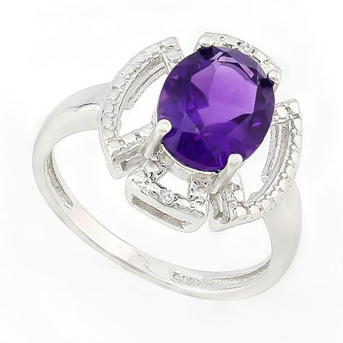 HULKING 2 1/2 CARAT AMETHYST & GENUINE DIAMONDS 925 STERLING SILVER RING