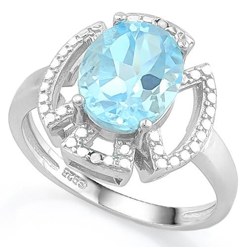 SPECTACULAR ! 3 1/4 CARAT BABY SWISS BLUE TOPAZ & DIAMOND 925 STERLING SILVER RING