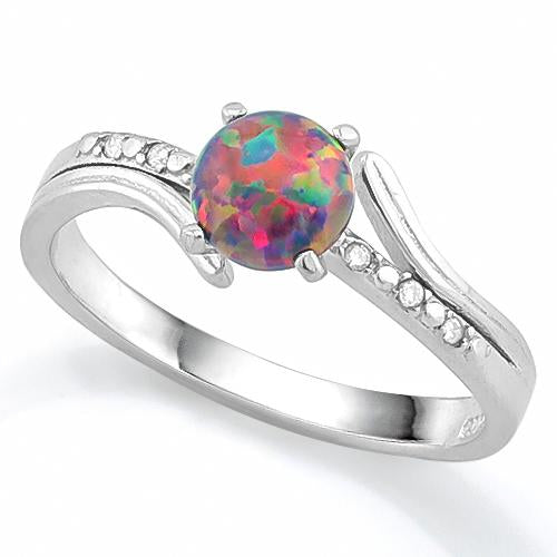 MAGNIFICENT ! 2/5 CT CREATED BLACK OPAL & CREATED WHITE SAPPHIRE 925 STERLING SILVER RING