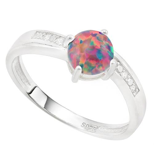 SPECTACULAR ! 2/5 CARAT CREATED BLACK OPAL & DIAMOND 925 STERLING SILVER RING