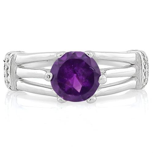 LOVELY ! 1 1/4 CARAT AMETHYST & (20 PCS) FLAWLESS CREATED DIAMOND 925 STERLING SILVER RING