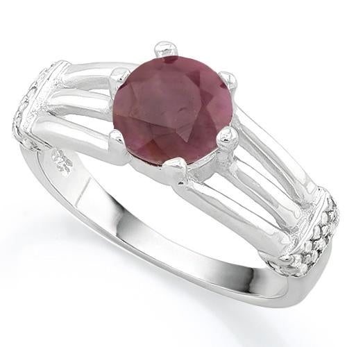 FANTASTIC ! 1 3/5 CARAT RUBY & (20 PCS) FLAWLESS CREATED DIAMOND 925 STERLING SILVER RING