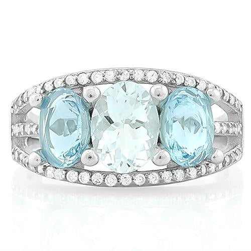 PRICELESS ! AQUAMARINE & 3 4/5 CARAT BABY SWISS BLUE TOPAZ 925 STERLING SILVER RING