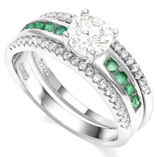 WHITE TOPAZ & 1/3 CT EMERALD 925 STERLING SILVER RING