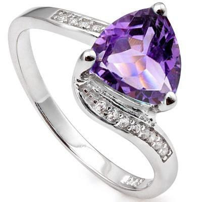 1.58 CARAT TW (13 PCS) AMETHYST & CREATED WHITE SAPPHIRE  PLATINUM OVER 0.925 STERLING SILVER RING