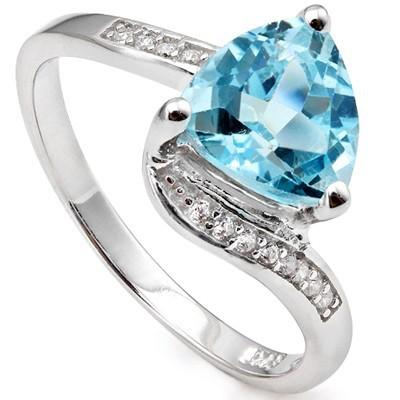 1.94 CT BLUE TOPAZ & 12 PCS CREATED WHITE SAPPHIRE PLATINUM OVER 0.925 STERLING SILVER RING