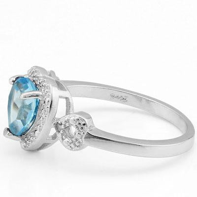 MESMERIZING 1.412 CARAT TW BLUE TOPAZ & GENUINE DIAMOND PLATINUM OVER 0.925 STERLING SILVER RING