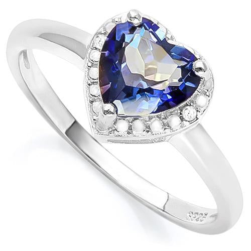 EXQUISITE ! 1 1/4 CARAT VIOLET MYSTIC GEMSTONE & DIAMOND 925 STERLING SILVER RING