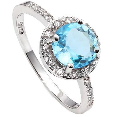 1.65 CT BLUE TOPAZ & 20 PCS CREATED WHITE SAPPHIRE PLATINUM OVER 0.925 STERLING SILVER RING