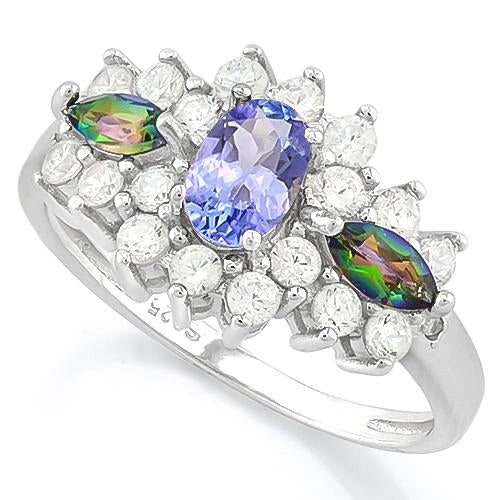 TANZANITE & 1/4 CT GREEN MYSTIC GEMSTONE 925 STERLING SILVER RING