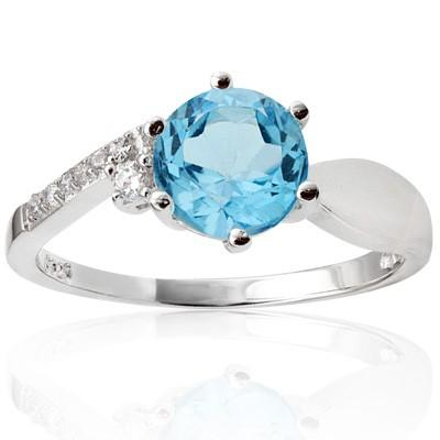 PERFECT 1.65 CT BLUE TOPAZ & 6 PCS CREATED WHITE SAPPHIRE PLATINUM OVER 0.925 STERLING SILVER RING