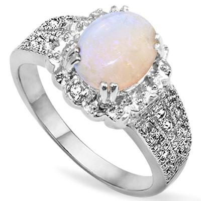 1.50 CT CREATED FIRE OPAL  & 2PCS GENUINE DIAMOND PLATINUM OVER 0.925 STERLING SILVER RING