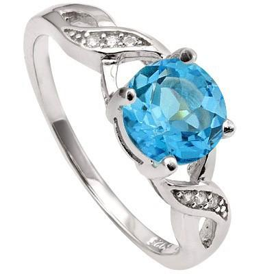 1.65 CT SWISS TOPAZ & 6 PCS CREATED WHITE SAPPHIRE PLATINUM OVER 0.925 STERLING SILVER RING