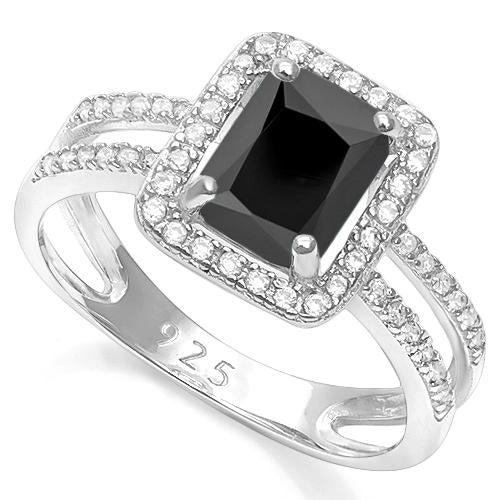 3 CARAT BLACK SPINEL & 2/5 CARAT CREATED WHITE SAPPHIRE 925 STERLING SILVER RING