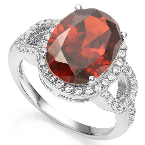 6 1/3 CARAT CREATED GARNET & 3/5 CARAT CREATED WHITE SAPPHIRE 925 STERLING SILVER RING