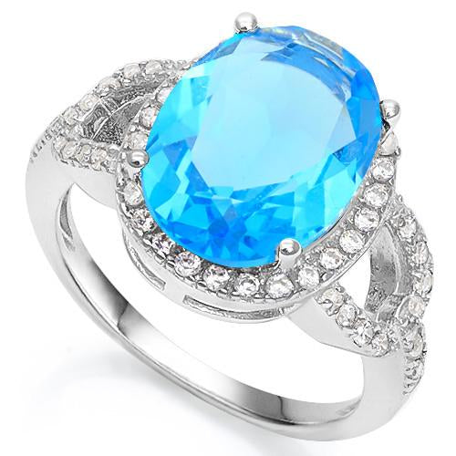 6 1/3 CARAT CREATED BLUE TOPAZ & 3/5 CARAT CREATED WHITE SAPPHIRE 925 STERLING SILVER RING