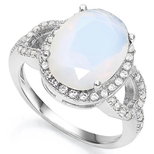6 1/3 CARAT CREATED FIRE OPAL & 3/5 CARAT CREATED WHITE SAPPHIRE 925 STERLING SILVER RING