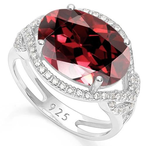 6 1/3 CARAT CREATED GARNET & 1/3 CARAT CREATED WHITE SAPPHIRE 925 STERLING SILVER RING