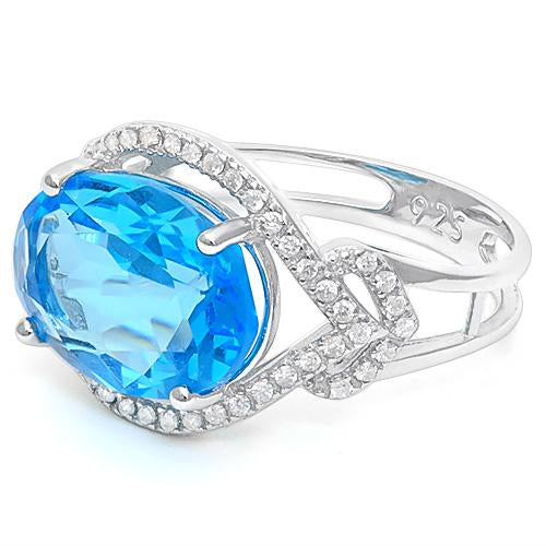 6 1/3 CARAT CREATED BLUE TOPAZ & 1/3 CARAT CREATED WHITE SAPPHIRE 925 STERLING SILVER RING