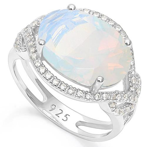 6 1/3 CARAT CREATED FIRE OPAL & 1/3 CARAT CREATED WHITE SAPPHIRE 925 STERLING SILVER RING