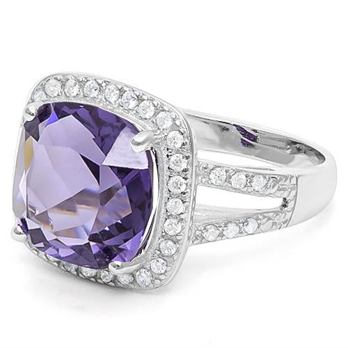 6 2/5 CARAT CREATED AMETHYST & 1/2 CARAT CREATED WHITE SAPPHIRE 925 STERLING SILVER RING