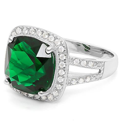 6 2/5 CARAT CREATED EMERALD & 1/2 CARAT CREATED WHITE SAPPHIRE 925 STERLING SILVER RING