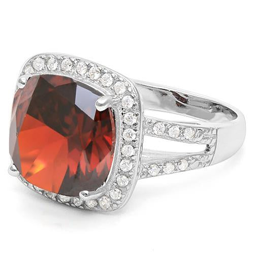 6 2/5 CARAT CREATED GARNET & 1/2 CARAT CREATED WHITE SAPPHIRE 925 STERLING SILVER RING