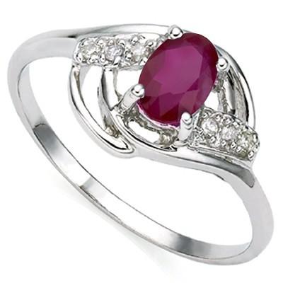 0.63 CT GENUINE RUBY & 2 PCS WHITE DIAMOND PLATINUM OVER 0.925 STERLING SILVER RING