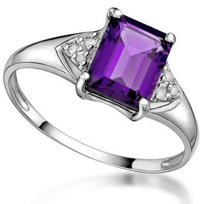 1.49 CT AMETHYST & 2 PCS WHITE DIAMOND PLATINUM OVER 0.925 STERLING SILVER RING
