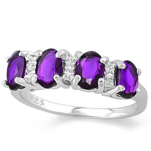 2 2/5 CARAT CREATED AMETHYST & GENUINE DIAMOND 925 STERLING SILVER RING