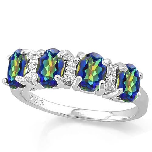 1 2/3 CARAT CREATED BLUE MYSTIC &   GENUINE DIAMOND 925 STERLING SILVER RING