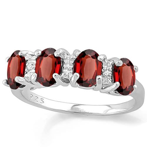 1 4/5 CARAT CREATED GARNET & GENUINE DIAMOND 925 STERLING SILVER RING