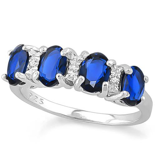 1 2/3 CARAT CREATED BLUE SAPPHIRE &   GENUINE DIAMOND 925 STERLING SILVER RING
