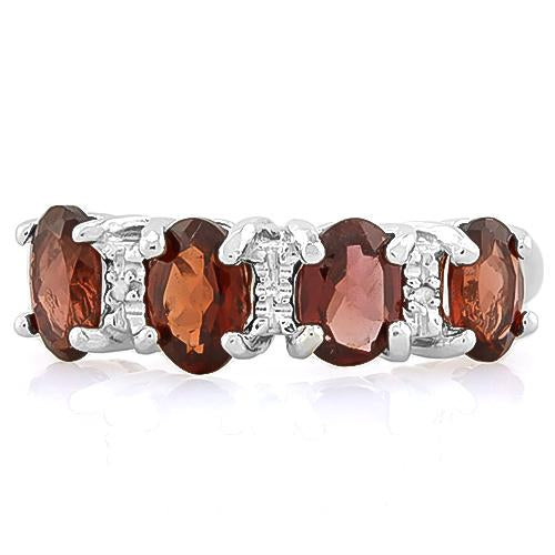 PRETTY ! 8 1/5 CARAT GARNET & DIAMOND 925 STERLING SILVER RING