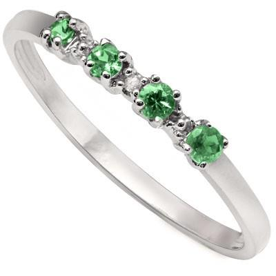 0.15 CT GENUINE EMERALD & 1 PCS WHITE DIAMOND PLATINUM OVER 0.925 STERLING SILVER RING