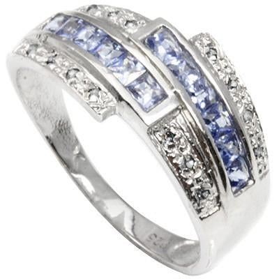 1/3 CT TANZANITE & DIAMOND 925 STERLING SILVER RING