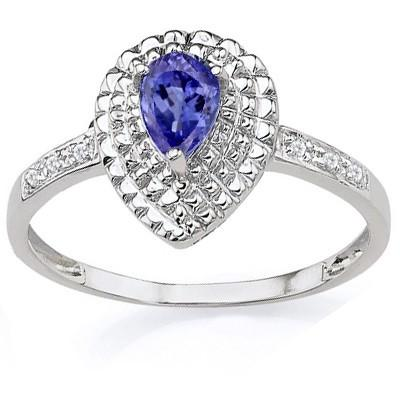 0.35 CT GENUINE TANZANITE & 2 PCS WHITE DIAMOND PLATINUM OVER 0.925 STERLING SILVER RING
