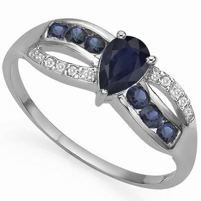 0.83 CARAT TW GENUINE BLACK SAPPHIRE & GENUINE SAPPHIRE PLATINUM OVER 0.925 STERLING SILVER RING