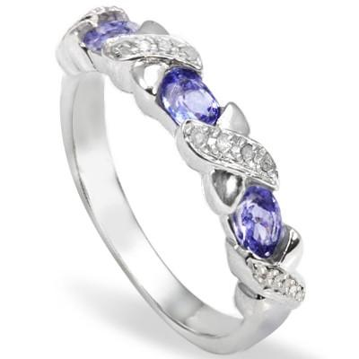 0.47 CT GENUINE TANZANITE & 2PCS WHITE DIAMOND PLATINUM OVER 0.925 STERLING SILVER RING