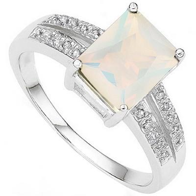1.86 CT LAB OPAL & 2PCS GENUINE DIAMOND PLATINUM OVER 0.925 STERLING SILVER RING