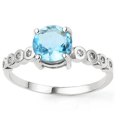 1.61 CARAT BLUE TOPAZ & GENUINE DIAMOND PLATINUM OVER 0.925 STERLING SILVER RING
