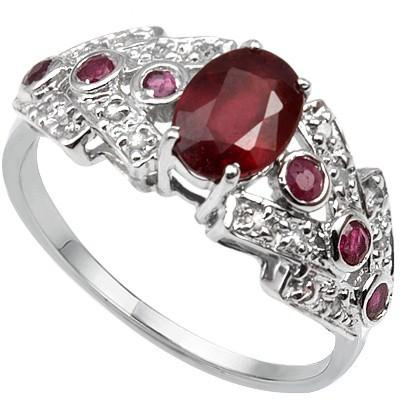 1.37 CARAT GENUINE RUBY & GENUINE RUBY PLATINUM OVER 0.925 STERLING SILVER RING