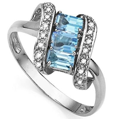 0.91 CT BLUE TOPAZ & 2 PCS WHITE DIAMOND PLATINUM OVER 0.925 STERLING SILVER RING