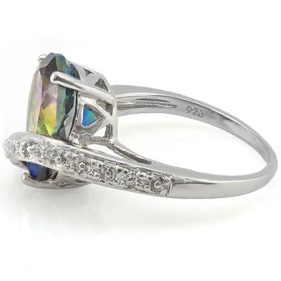 0.01 CT GENUINE DIAMOND & 1PCS OCEAN MYSTIC GEMSTONE 0.925 STERLING SILVER RING