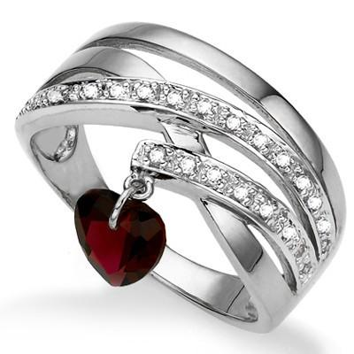 0.01 CT WHITE DIAMOND & 1PCS GARNET PLATINUM OVER 0.925 STERLING SILVER RING