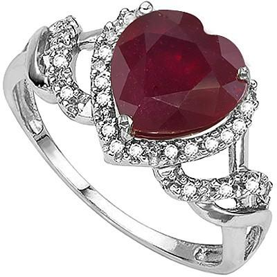 1.89 CT GENUINE RUBY & 2 PCS WHITE DIAMOND PLATINUM OVER 0.925 STERLING SILVER RING