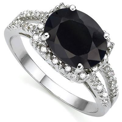 1.64 CT GENUINE BLACK SAPPHIRE & 2 PCS WHITE DIAMOND PLATINUM OVER 0.925 STERLING SILVER RING