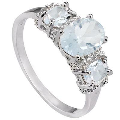 1.49 CT AQUAMARINE & 2 PCS AQUAMARINE PLATINUM OVER 0.925 STERLING SILVER RING